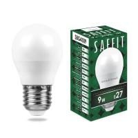 Лампа светодиодная Saffit E27 9W 2700K Шар Матовая SBG4509 55082