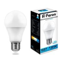 Лампа светодиодная Feron E27 12W 6400K Шар Матовая LB-93 25490