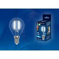 Лампа светодиодная Uniel (UL-00001371) E14 6W 4000K шар прозрачный LED-G45-6W/NW/E14/CL PLS02WH