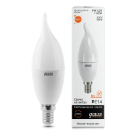 Лампа светодиодная Gauss E14 6W 2700K свеча на ветру матовая 34116
