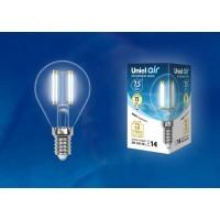 Лампа светодиодная Uniel (UL-00003254) E14 7,5W 4000K прозрачная LED-G45-7,5W/NW/E14/CL GLA01TR