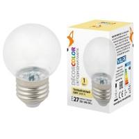 Лампа декоративная светодиодная (UL-00005807) Volpe E27 1W 3000K прозрачная LED-G45-1W/3000K/E27/CL/С