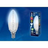 Лампа светодиодная Uniel (UL-00002411) E14 7W 4000K свеча матовая LED-C37 7W/NW/E14/FR PLP01WH
