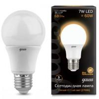 Лампа светодиодная Gauss E27 7W 2700K шар матовый 102502107