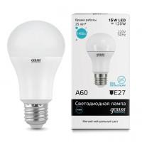 Лампа светодиодная Gauss E27 15W 4100K шар матовый 23225