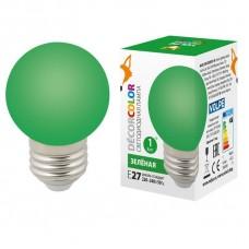 Лампа декоративная светодиодная (UL-00005648) Volpe E27 1W зеленая LED-G45-1W/GREEN/E27/FR/С