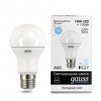 Лампа светодиодная Gauss E27 15W 6500K груша матовая 23235