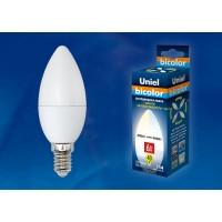 Лампа светодиодная Uniel (UL-00001570) E14 6W 4000K свеча матовая LED-C37-6W/WW+NW/E14/FR PLB01WH