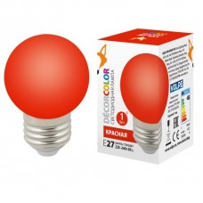 Лампа декоративная светодиодная (UL-00005646) Volpe E27 1W красная LED-G45-1W/RED/E27/FR/С