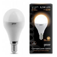 Лампа светодиодная Gauss E14 6.5W 2700K  шар матовый 105101107
