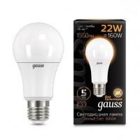 Лампа светодиодная Gauss E27 22W 3000К груша матовая 102502122