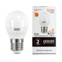 Лампа светодиодная Gauss E27 10W 3000K шар матовый 53210