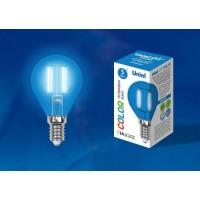 Лампа светодиодная Uniel (UL-00002989) E14 5W шар синий LED-G45-5W/BLUE/E14 GLA02BL