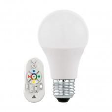 Лампа светодиодная Eglo E27 9W 2700-6500K груша матовая c пультом ДУ 11585