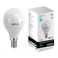 Лампа светодиодная Gauss E14 6W 4100K шар матовый 53126