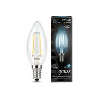 Лампа светодиодная Gauss E14 5W 4100K свеча прозрачная 103801205