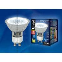 Лампа светодиодная Uniel (04008) GU10 1,2W 6000-6400K прозрачная LED-JCDR-SMD-1,2W/DW/GU10 85 Lm