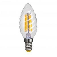 Лампа светодиодная Voltega E14 4W 4000К свеча витая прозрачная VG10-CС1E14cold4W-F 7003
