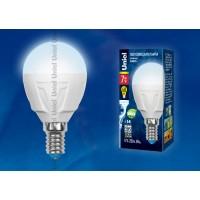 Лампа светодиодная Uniel (UL-00000771) E14 7W 4500K шар матовый LED-G45-7W/NW/E14/FR PLP01WH