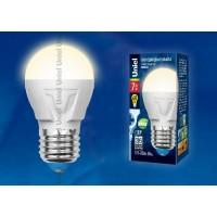 Лампа светодиодная Uniel (UL-00002420) E27 7W 3000K шар матовый LED-G45 7W/WW/E27/FR PLP01WH