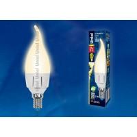 Лампа светодиодная Uniel (UL-00002416) E14 7W 3000K свеча на ветру матовая LED-CW37 7W/WW/E14/FR PLP01WH