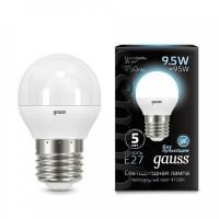 Лампа светодиодная Gauss E27 9.5W 4100K шар матовый 105102210