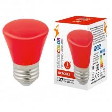 Лампа декоративная светодиодная (UL-00005638) Volpe E27 1W красная матовая LED-D45-1W/RED/E27/FR/С BELL