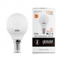 Лампа светодиодная Gauss E14 12W 3000K матовая 53112