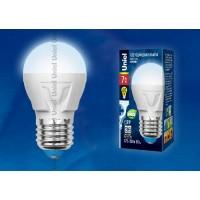 Лампа светодиодная Uniel (UL-00002418) E27 7W 4000K шар матовый LED-G45 7W/NW/E27/FR PLP01WH