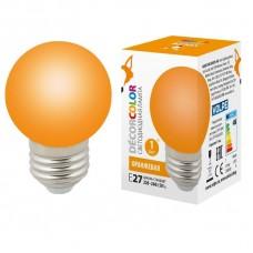 Лампа декоративная светодиодная (UL-00005650) Volpe E27 1W оранжевая LED-G45-1W/ORANGE/E27/FR/С