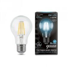 Лампа светодиодная Gauss филаментная A60 E27 6W 4100К шар прозрачный 1/10/50 102802206