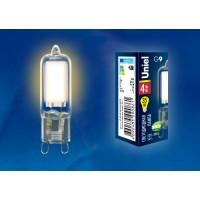 Лампа светодиодная Uniel (UL-00001815) G9 4W 3000K капсульная прозрачная LED-JCD-4W/WW/G9/CL GLZ01TR