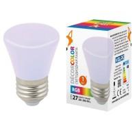 Лампа декоративная светодиодная (UL-00005805) Volpe E27 1W RGB матовая LED-D45-1W/RGB/E27/FR/С BELL