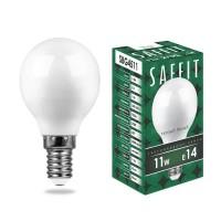 Лампа светодиодная Saffit E14 11W 2700K Шар Матовая SBG4511 55136