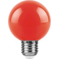 Лампа светодиодная Feron E27 3W красный Шар Матовая LB-371 25905
