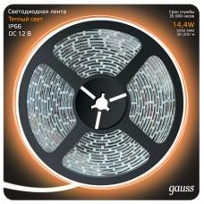 Светодиодная лента Gauss 5M теплый белый 14,4W IP66 311000114