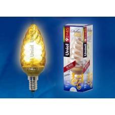Лампа энергосберегающая Uniel (03858) E14 9W 2700K золотая ESL-C21-T9/GOLD/E14
